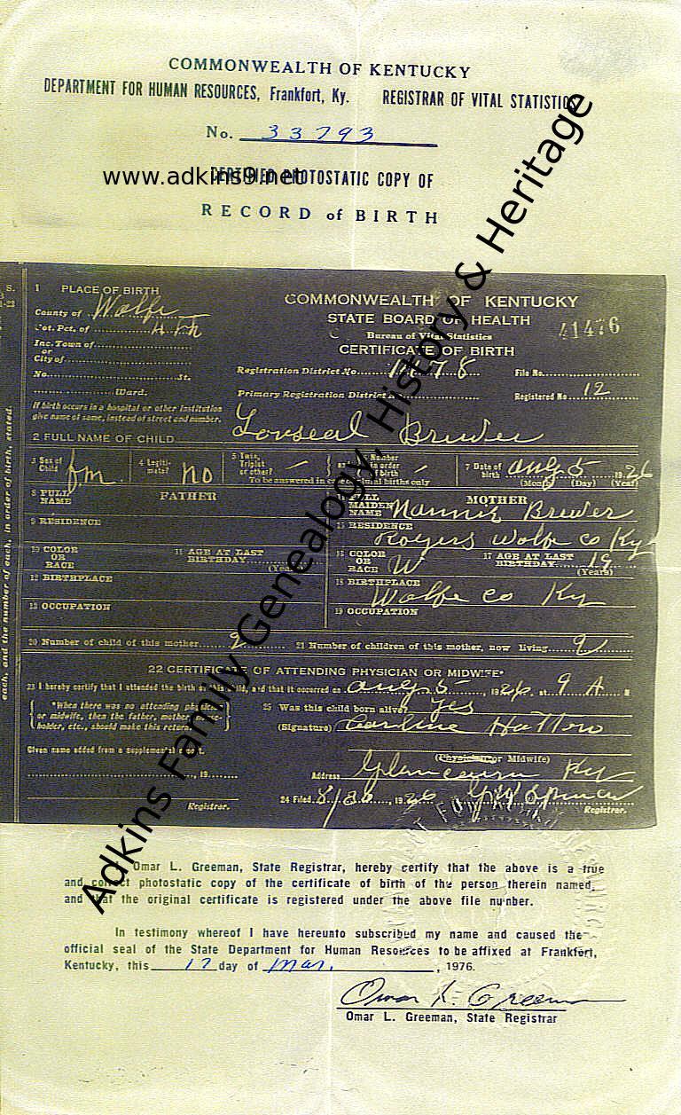Oakley morline oak brewer 19001976 adkins family genealogy lucille brewer birth cert aiddatafo Image collections